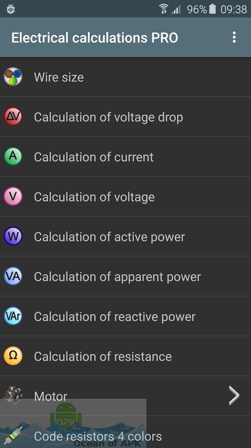 Electrical calculations PRO Features